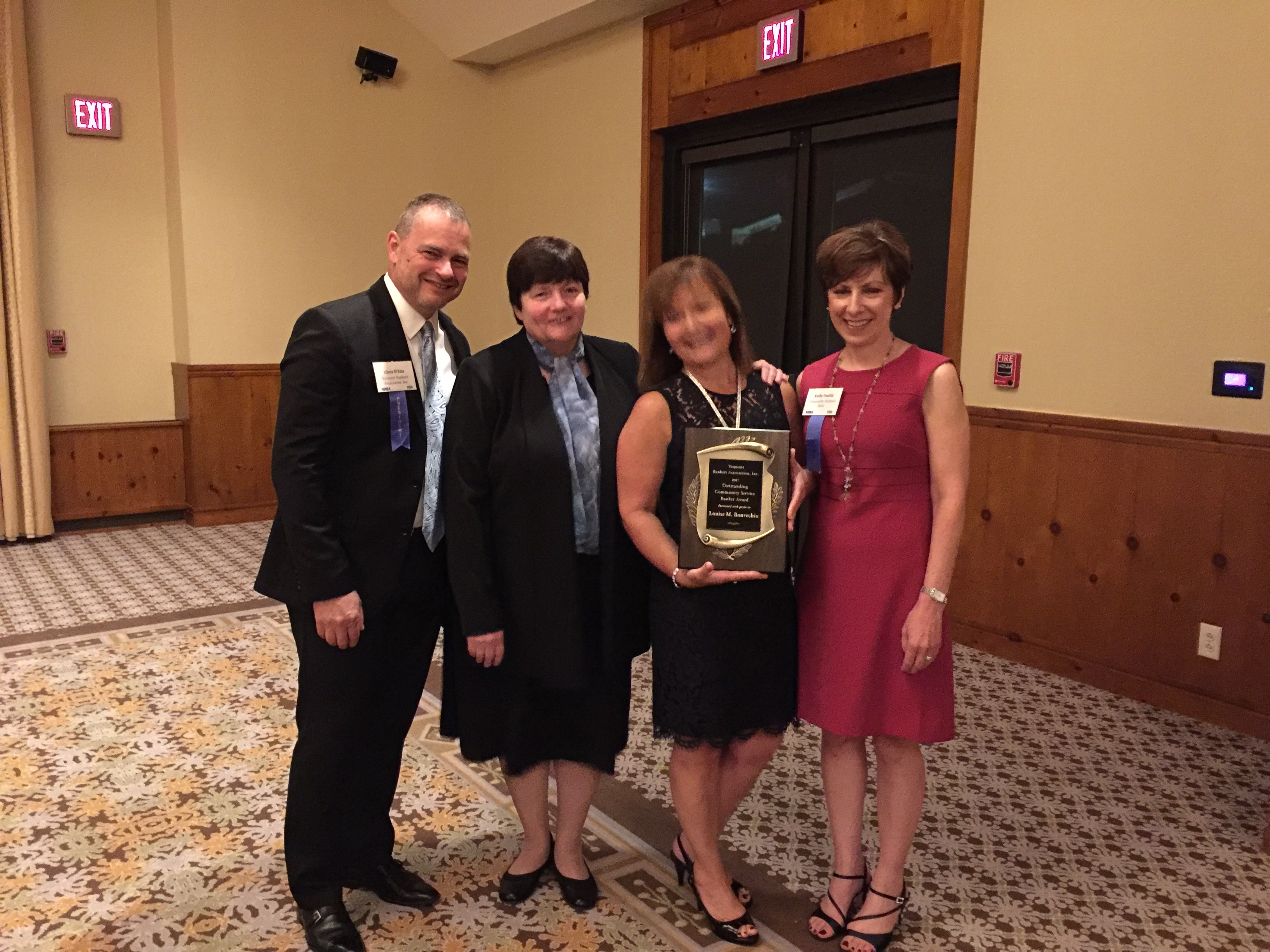 Left to right: Chris D'Elia, VBA President; State Treasurer Beth Pearce, Louise Bonvechio and Kathryn M. Austin, VBA Chairman and President & CEO, Community National Bank